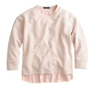 J Crew L Blush Pink Sequin Trim Sweatshirt Top
